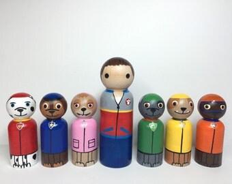 Paw Patrol PegBuddies peg dolls Ryder, Marshall, Chase, Rocky, Zuma,  Rubble, Skye