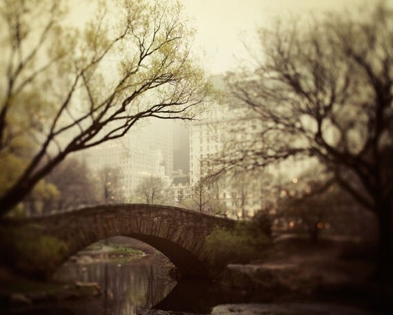 New York Photography, NYC Print, Large Art, Central Park Bridge, Autumn, Brown Wall Art, Fine Art Photography - Fairytale of New York