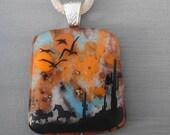 Horse Pendant, Glass Image Pendant, Glass Necklace, Square Fused Glass Pendant,  Stone Look Glass Pendant - Wild Horses