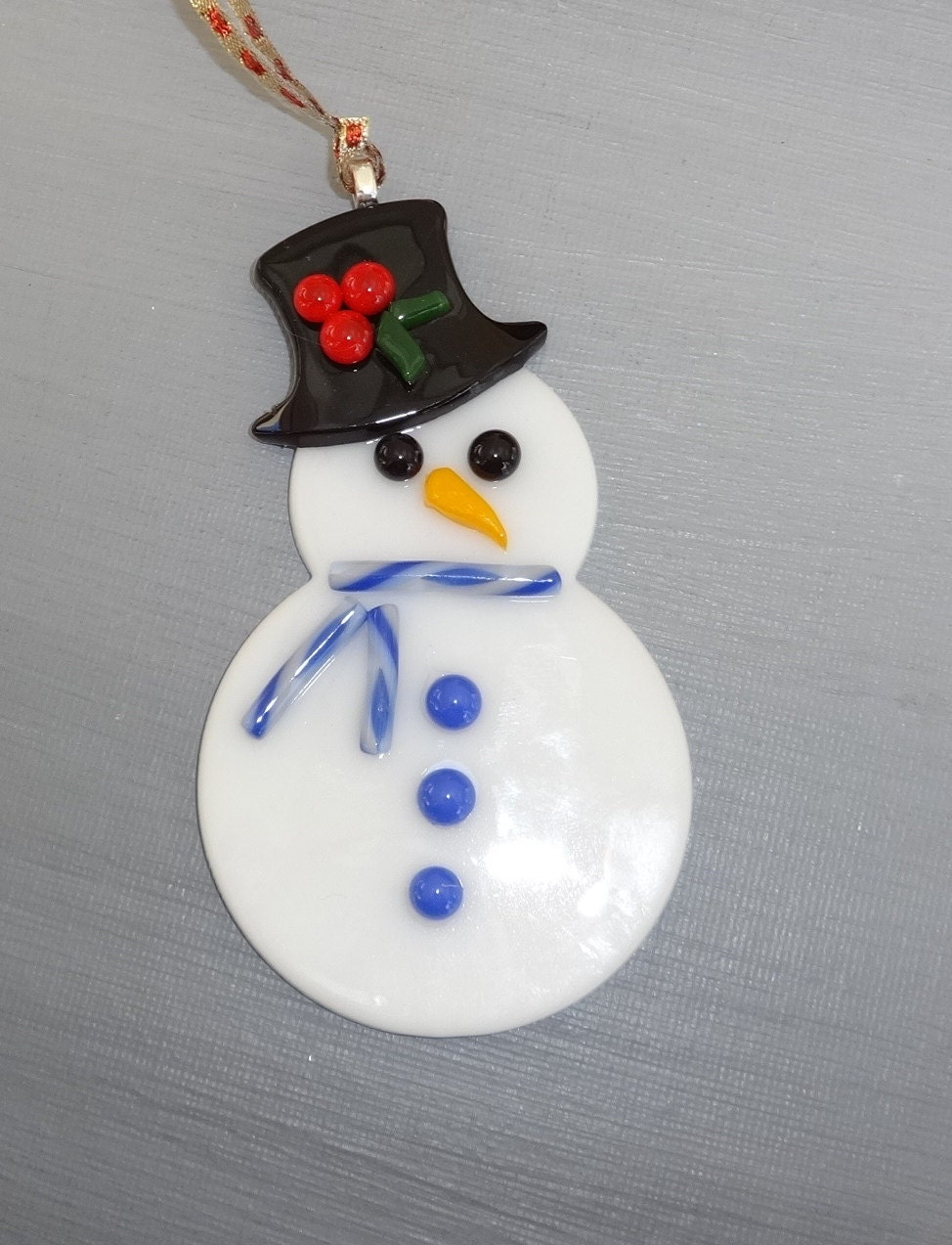 Fused glass snowman ornament holiday christmas