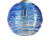 Cerulean Blue Spun Hand Blown Glass Cluster Pendant Hanging Light by Rebecca Zhukov