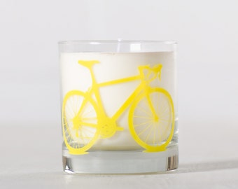 Yellow Bike Candle - Citrus Basil - Soy candle in reuseable screen printed bicycle rocks glass