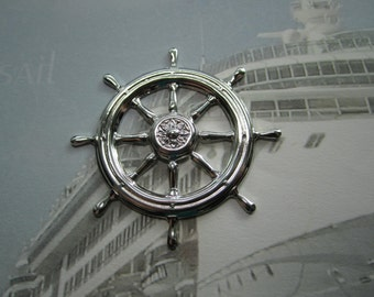 Ships Wheel Nautical Stamping Large Silver Tone Jewelry/Steampunk on Etsy x 1