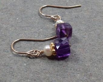 Gold Amethyst Earrings Petite Geometric Jewelry February Birthstone White Pearl Gift for Her