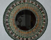 Mosaic Art Mirror Stained Glass Mixed Media-Green and Copper