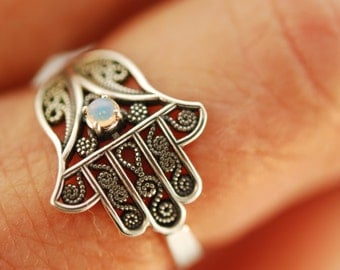 Hamsa Filigree 2 with Opal