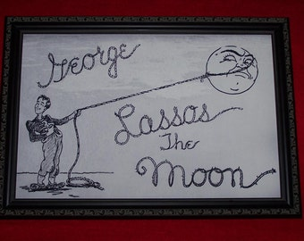 """It's A Wonderful Life  """"George Lassos The Moon""""  framed 12x18  replica meticulously reproduced"""