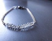 bracelet in silver with quartz beads - delicate bracelet with clear quartz and silver chain - simple silver bracelet - ciel clair bracelet