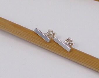 Small Bar Post Earrings, Sterling Silver