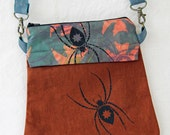 Crossbody bag, textile art accessory, shoulder purse, small handbag, clip bag, travel bag, hand dyed,spider, rust brown, teal, screenprinted