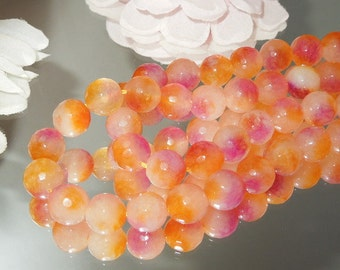 Juicy Candy Jade Dyed 10x10mm Facet Round Spheres Strawberry Oraange- Bastet's Beads-