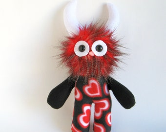 Stuffed Animal Monster Doll Plush Toy Monster Hearts Kawaii Plushie Softie Red Snuggly Cuddly Faux Fur Sweetheart Fluffy Flowers