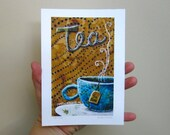 Tea Time, hot winter drink, relax zen,  Archival Reproduction Print 5 x 7