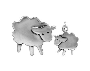 Mother Daughter Sheep Necklace Set - Two Sterling Silver Sheep Pendants - Lamb Necklace - Ewe Necklace