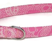 XS Dog Collar - Fancy Pink and White - Extra Small Miniature Teacup - Cute, Pretty and Fancy