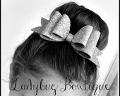 Wool Felt Glitter Hair Bow ~ Super Sparkle ~ Silver ~ Headband Clip or Barrette ~ Custom Choice ~ Large ~ Christmas Holiday or New Year ~