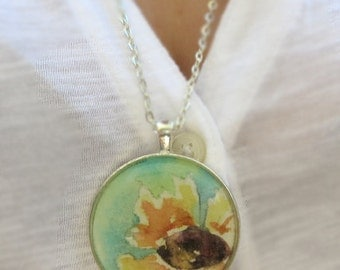 Original Sunflower Painting Art Jewelry Necklace Pendant of a watercolor girls teen womens gift