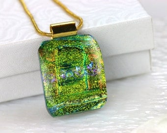 Green Layered Dichroic Fused Glass Pendant Necklace Jewelry Fused Glass Pendant Dichroic Silver Necklace 001161