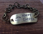 Happy Camper Bracelet - Antiqued Gold Chain, Hand Stamped Brass Tag, Toggle Clasp, Green Bead Charms - FREE SHIPPING