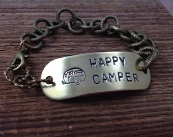Happy Camper Bracelet - Antiqued Gold Chain, Hand Stamped Brass Tag