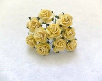 20mm yellow mulberry roses - paper flowers