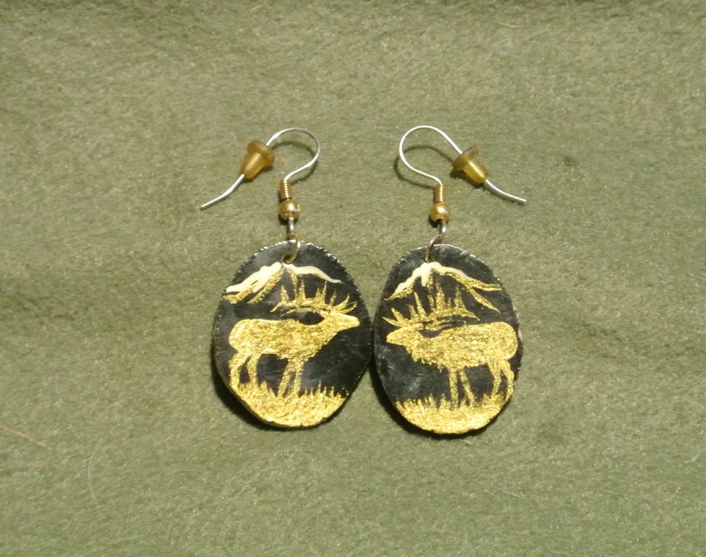 antler earrings gold black elk painted