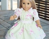 """American Girl 18"""" Doll Clothes green pink shabby chic flower girl Peasant Twirl Dress with Belt 18"""" doll style  Romantic Roses"""