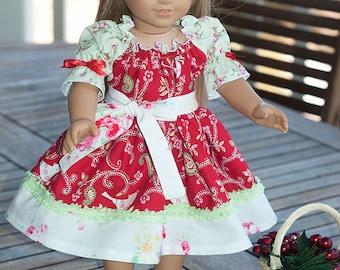 "Christmas red white green Peasant Twirl dress set 18"" doll dress American Girl Holiday Love Birds"