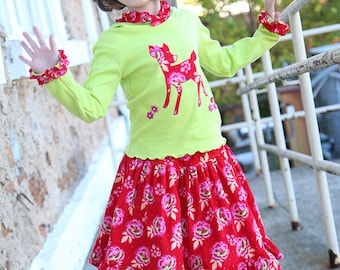 Girls Christmas outfit Size 6 Holiday winter skirt and shirt red corduroy Twirl skirt and green hoodie tshirt size  deer shirt Ready to ship