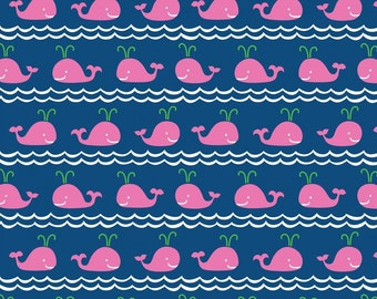 Rowing Blue Fabric - Pink Whales on Navy Blue - Ana Davis for Blend Fabrics - True Blue Collection - Nautical - One Yard Fabric