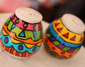 Hand painted whimsical salt pepper shakers kitchen art