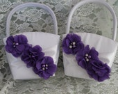 2 White or Cream Satin Flower Girl Basket with Purple Chiffon Ruffled Flower with Pearls and Rhinestones-Custom Color Choices