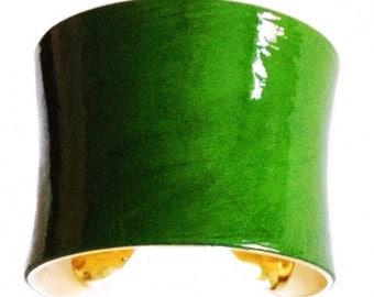 Leaf Green Patent Leather Gold lined Cuff - by UNEARTHED