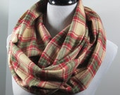Red olive green n Camel Tartan plaid brushed cotton flannel infinity circle scarf- women autumn fall winter cowl neck shawl fashion gifts