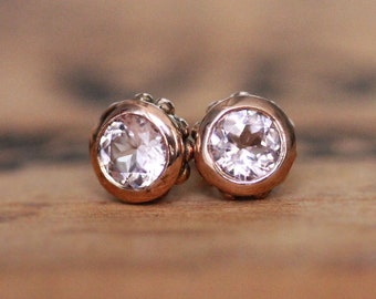 14k rose gold stud earrings, pink morganite stud earrings, tiny gold studs, romantic gifts, luxury jewelry, recycled gold, Wrought custom