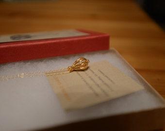 Gold Teardrop Necklace with Orange Hessonite Garnet Stone  - SALE 20% Off