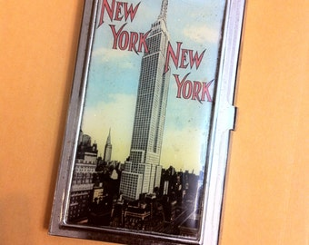 Retro New York City Empire State Building Business Card Holder Credit Card Case