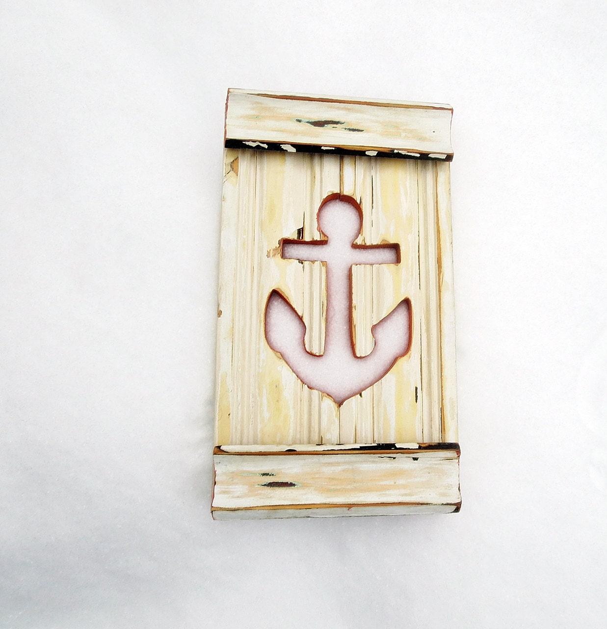 Decorative wooden anchor wall decor : Anchor wall art nautical beach decor reclaimed wood