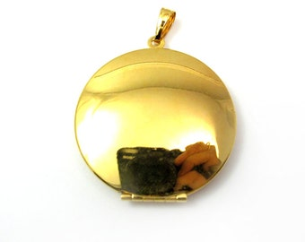 Vintage Gold Plated Locket Pendant  (1x) (L528)