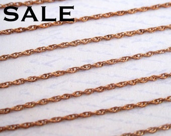 Vintage Red Brass Rope Chain -soldered (5 Feet) (CP213-A) SALE - 25% off