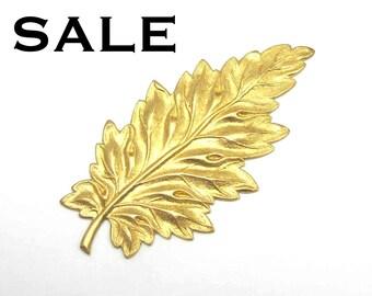 Brass Leaf Pendants (4X) (M763) SALE - 50% off