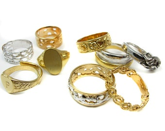 Vintage Mix of Plated Fashion Rings (16X) (J526-A)