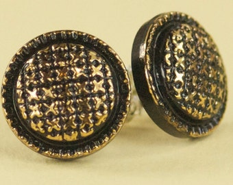 Vintage Gold and Black Swirl Czech Glass Post Earrings - Limited