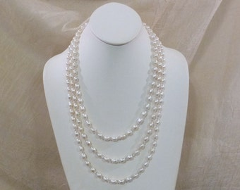 Triple Strand Freshwater Pearls and Clear Crystals Necklace