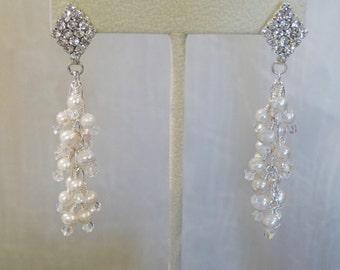 Diamond Rhinestone Posts and Freshwater Pearls Cluster Earrings