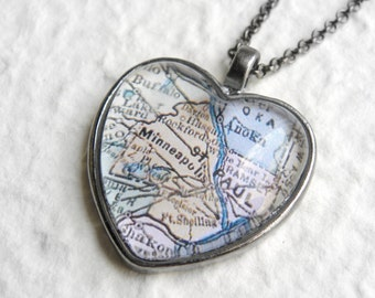 Minneapolis Map Necklace  - Choose your favorite map from 25 map samples - Also featuring St Cloud, Rochester, Mankato, St Paul,