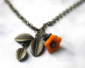 Woodland Floral Charm Necklace, Orange Glass Flower & Three Leaf Pendant, Bronze Rollo Chain... Autumn Floral Jewelry