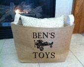 large personalized  lined burlap toy basket , burlap storage tote,  boy or girl toys