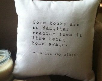 some books are so familiar quote throw pillow cover, 14 x 14, white cotton