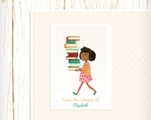 Personalized Bookplates - Library Girl 4 - Set of 18 - childrens bookplates teacher librarian gift reader reading african american
